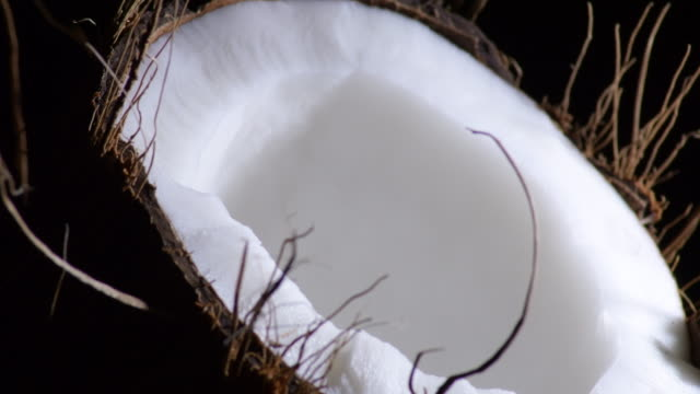 Half Coconut fruit broken gyrating with black background Half Coconut fruit broken gyrating with black background raw footage stock videos & royalty-free footage