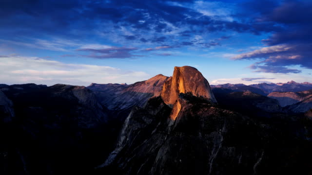 half dome time lapse - parco nazionale video stock e b–roll