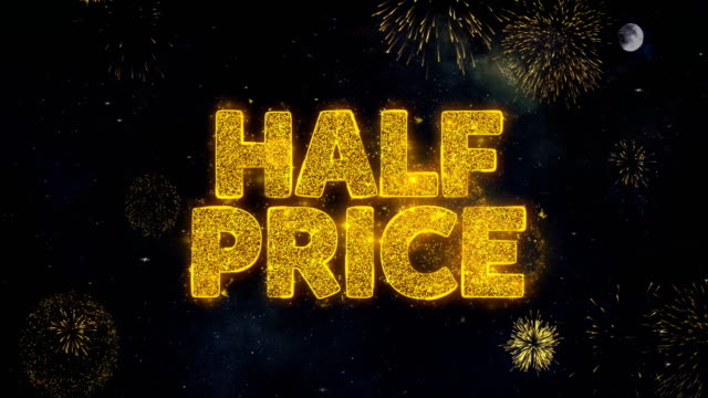 Half Price Text Wishes Reveal From Firework Particles Greeting card.