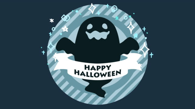 Halloween Animation - Dark Ghost cute Halloween ghost animation. ghost icon stock videos & royalty-free footage