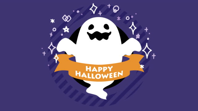 Halloween Animation - Ghost cute Halloween ghost animation. ghost icon stock videos & royalty-free footage
