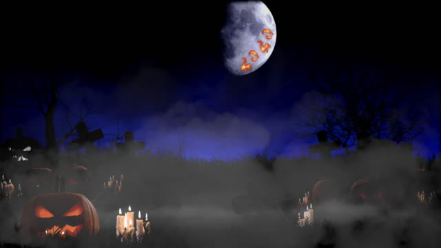 Halloween Background Creepy Tombstones and Pumpkins Against Big Moon