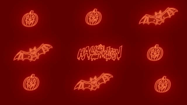 4K Halloween Background - Led (orange color) Light Animation|Loopable