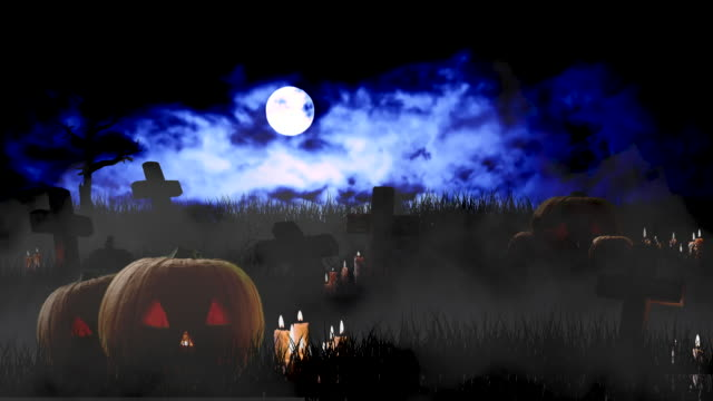 Halloween Background Pumpkins with Candles and Tombstones Against Night Sky