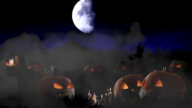 Halloween Background Scary Pumpkins Wearing Face Masks Against Bright Moon