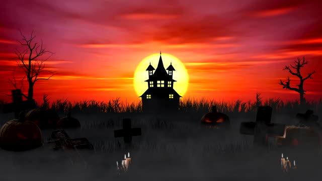 Halloween Background Spooky House Against Bright Sun With Tombstones