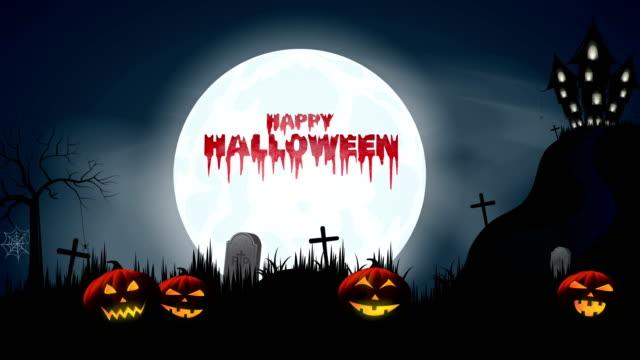 halloween bakgrund med blodiga text, pumpor, slott, fladdermöss. 4k-animering - halloween background bildbanksvideor och videomaterial från bakom kulisserna