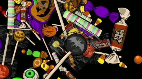 vídeos y material grabado en eventos de stock de halloween candy explosions centro izquierda derecha top inferior canal alfa - dulces