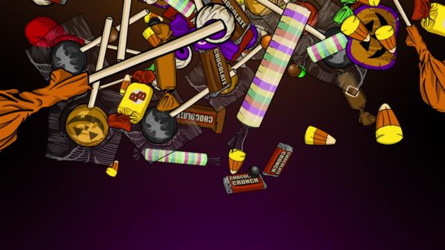 萬聖節糖果爆炸中心左右上下 - halloween candy 個影片檔及 b 捲影像