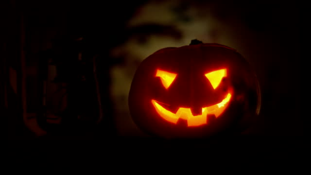 Halloween clip - scary pumpkin in the window. video