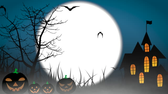 vídeos de stock e filmes b-roll de halloween colourful theme animation background, with scary moving trees and hovering bats on moon sky. 4k - halloween