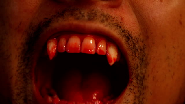 Halloween concept : Close up of Vampire  teeth Halloween concept : Close up of Vampire  teeth vampire stock videos & royalty-free footage