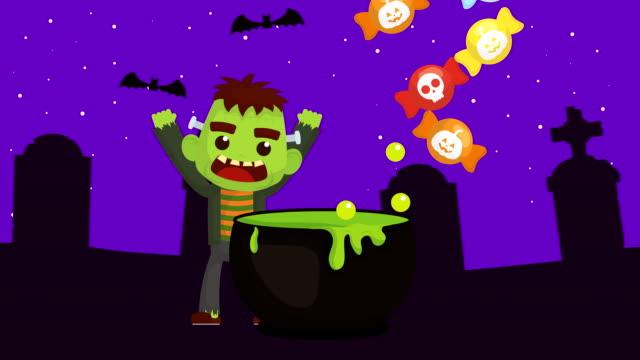 萬聖節黑暗場景與弗蘭肯斯坦在墓地 - halloween candy 個影片檔及 b 捲影像