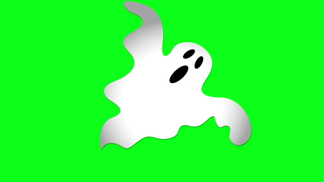 Halloween Ghost Green Screen Animation of Ghost moving in center of screen on chroma key (green screen) background. ghost stock videos & royalty-free footage