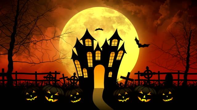 ハロウィンお化け屋月の城 - ハロウィーン点の映像素材/bロール