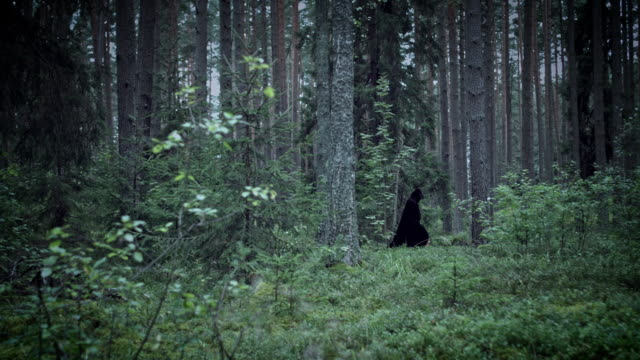 4K Halloween Horror Man Walking In Forest with Black Cape video