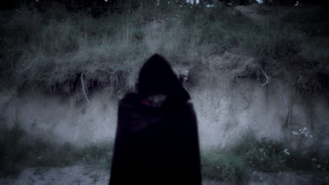 4K Halloween Horror Man with Black Cape Looking Evil Inspired from horror movies cape garment stock videos & royalty-free footage