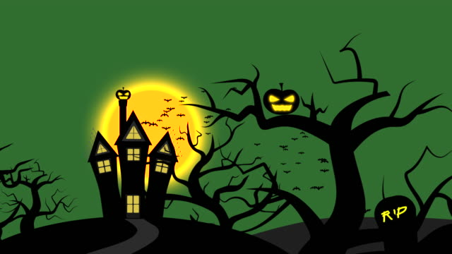 Halloween Night Animation with Green Sky and Full Moon, Green Color Theme