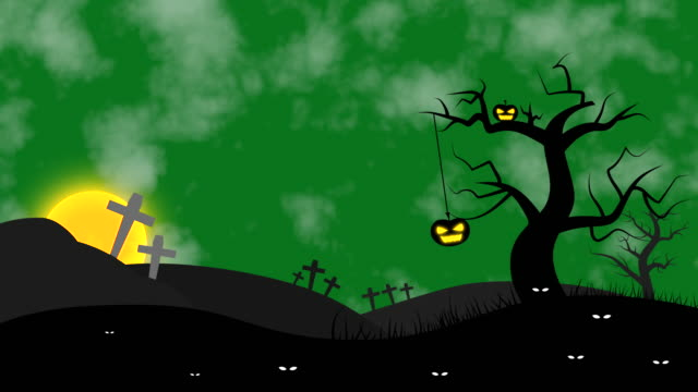 Halloween Night Animation with Green Sky and Full Moon, Moving Cloud Background