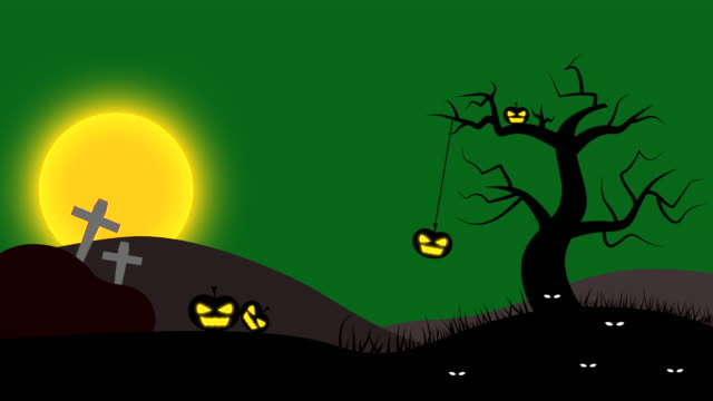 Halloween Night Animation with Green Sky and Full Moon