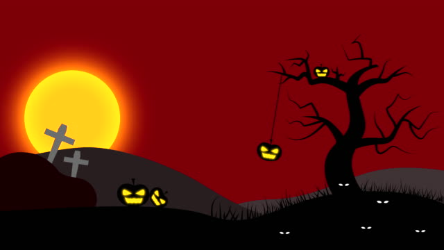 Halloween Night Animation with Red Sky and Full Moon