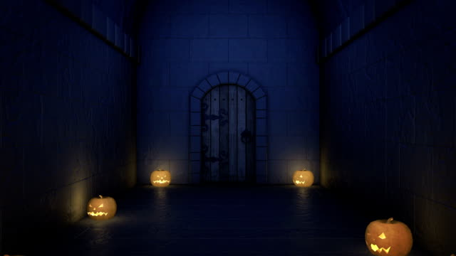 halloween night Castle corridor with pumpkins and bats flying towards camera  goosebumps stock videos & royalty-free footage