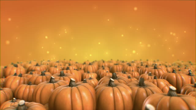 Halloween pumpkin animation 4K tracking forward pushing slow camera move front view with orange Background particles on top