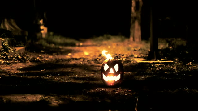 halloween pumpkin burning in the dark video