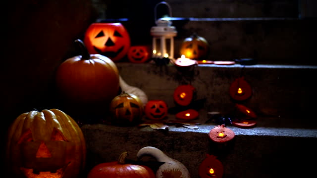 Halloween pumpkin decoration on stone stairs video