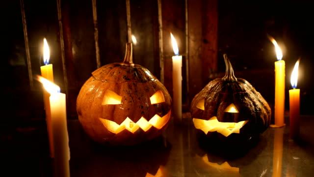 Halloween Pumpkin Glowing in the Dark, Dolly shot