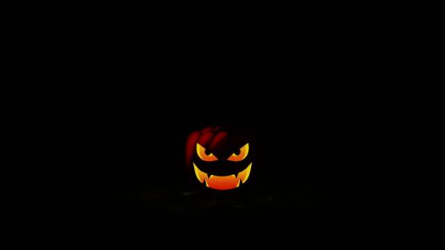 halloween pumpkin head jack lantern, loop - японский фонарь стоковые видео и кадры b-roll