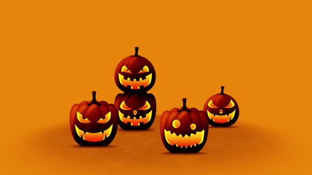 хэллоуин тыквы голову гнездо фонарь, петля - японский фонарь стоковые видео и кадры b-roll