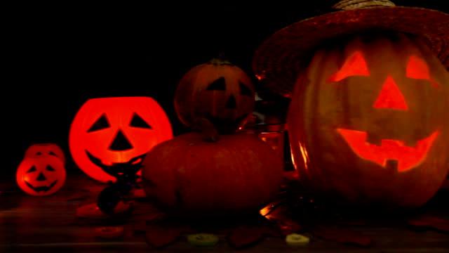 Halloween pumpkin head jack lantern on wooden background Halloween pumpkin head jack lantern on wooden background pantry stock videos & royalty-free footage