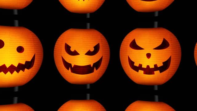 halloween pumpkin lanterns, loop - японский фонарь стоковые видео и кадры b-roll