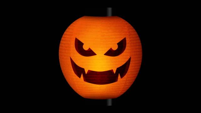 хэллоуин тыквенные фонари, петля - японский фонарь стоковые видео и кадры b-roll