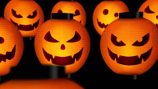 хэллоуин тыквенные фонари - японский фонарь стоковые видео и кадры b-roll