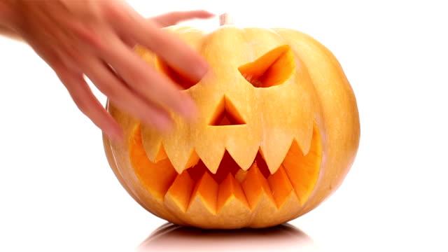 halloween zucca - zucca legenaria video stock e b–roll