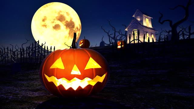 halloween-kürbisse 4k - halloween stock-videos und b-roll-filmmaterial