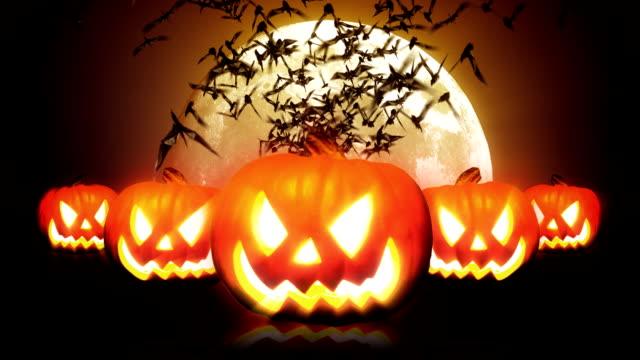 Halloween Pumpkins and Bats HD video