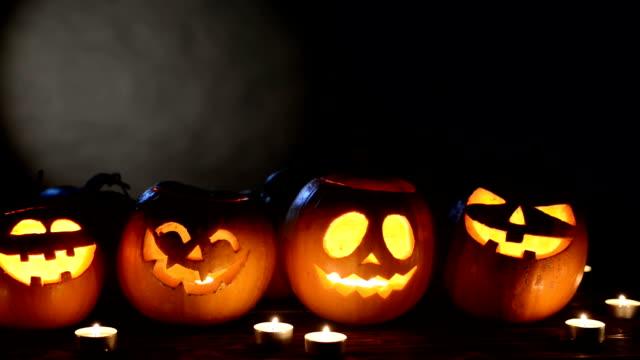 halloween pumpkins on black background - pumpkin стоковые видео и кадры b-roll