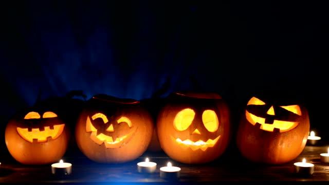 halloween pumpkins on smoky background - pumpkin стоковые видео и кадры b-roll