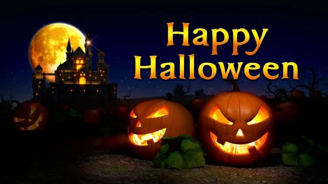 Halloween pumpkins revival ,Happy Halloween ,Spooky Castle background.