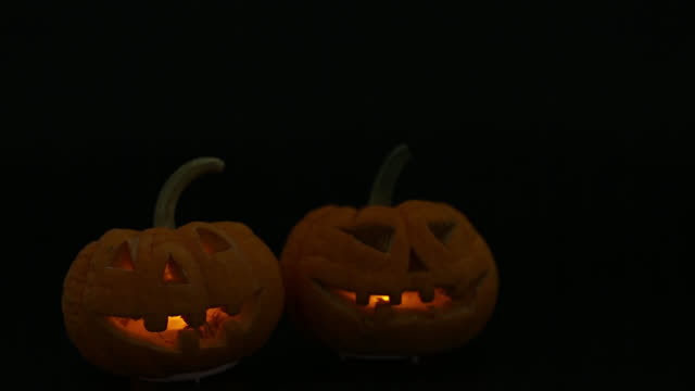 Halloween pumpkins smile and scary eyes video
