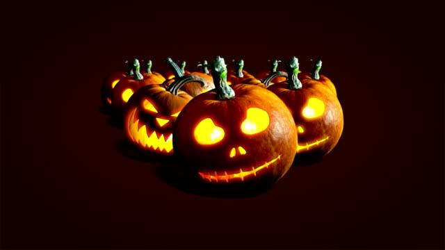 halloween pumpkins - zucca legenaria video stock e b–roll