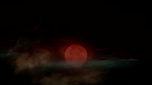 Halloween red full moon. video