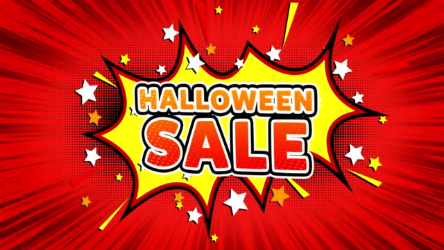 Halloween Sale Text Pop Art Style Comic Expression. Halloween Sale Text Pop Art Style Expression. Retro Comic Bubble Expression Cartoon illustration, Sale, Discounts, Percentages, Deal, Offer on Green Screen ghost icon stock videos & royalty-free footage