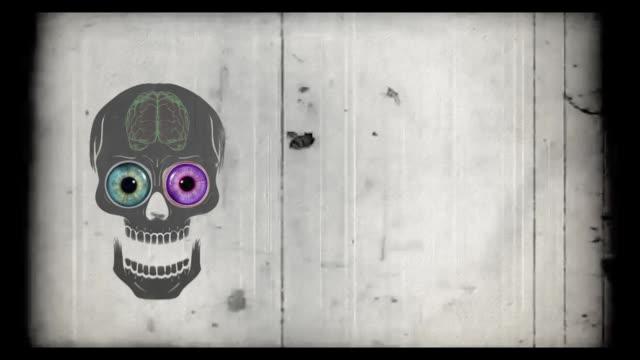 vídeos de stock e filmes b-roll de halloween scull - animated video - different scenes - cérebro humano
