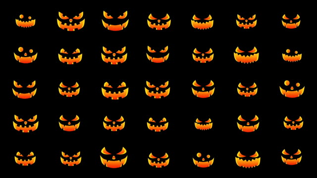 halloween silhouettes background, spooky and crazy pumpkins, loop - halloween background filmów i materiałów b-roll