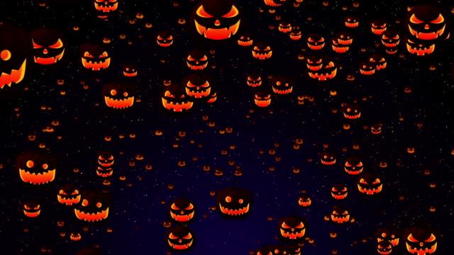 silhuetter bakgrund, spooky och galen halloweenpumpor, loop - halloween background bildbanksvideor och videomaterial från bakom kulisserna