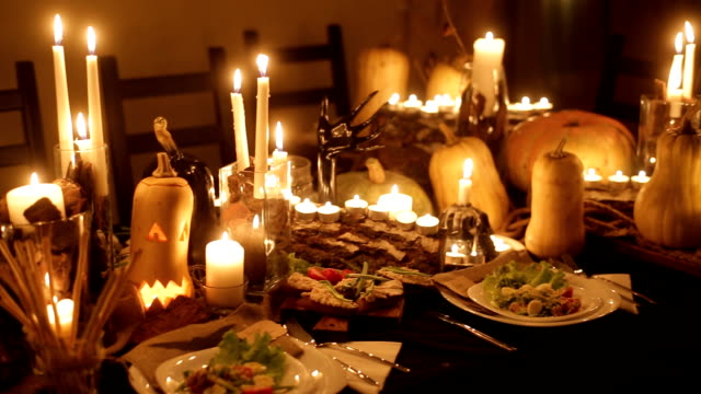hallowen decor table - thanksgiving background stock videos & royalty-free footage